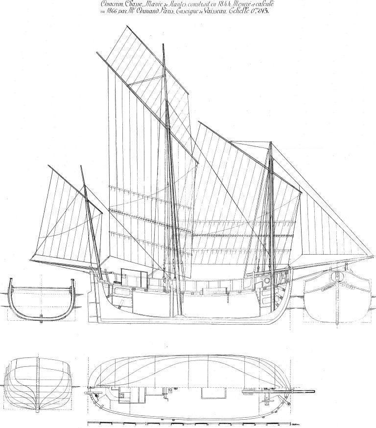 Anacréon chasse-marée de Nantes construit en 1844, (Souvenirs de marine de l'Amiral Paris)  Le lougre Etienne-Marie du capitaine le Mauff ressemblait peut être à ce caboteur de 16,85 m de longueur