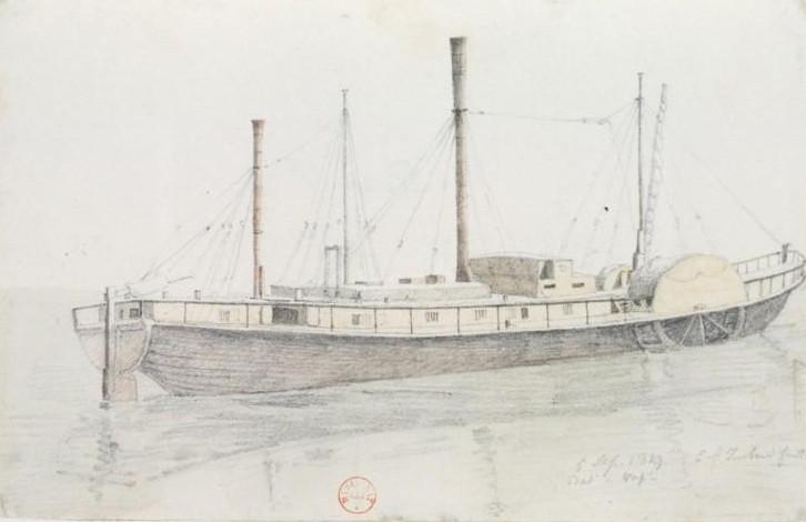 Vapeur de la Seine en 1819 dessin de Imbart