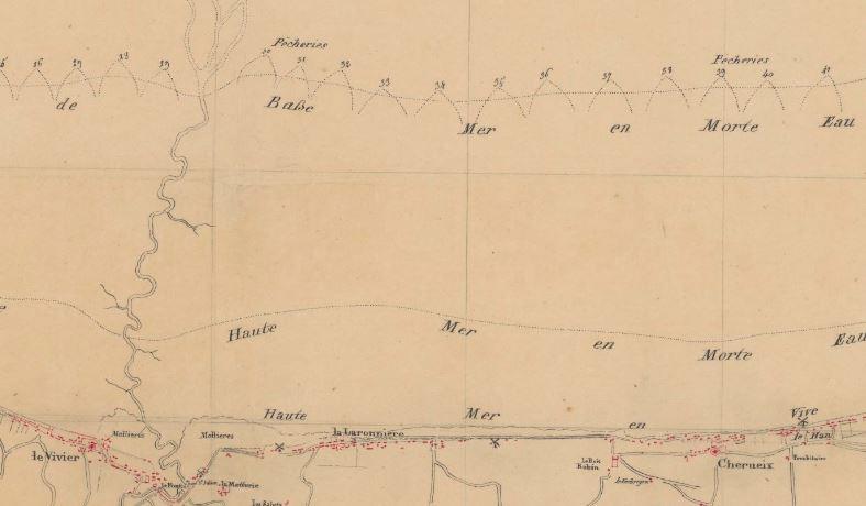 Extrait de la carte des ingénieurs du Roy de la baie de Cancale levée entre 1778 et 1783, les pêcheries sont situées sur la laisse de basse mer de morte-eau (source BNF Gallica) Ces cartes feront l'objet d'un prochain article sur le site