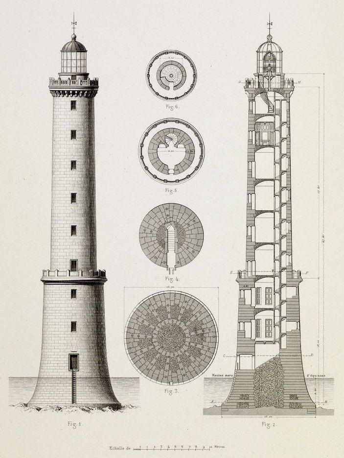 Plan du Phare par Léonce Reynaud  Planche du Mémoire sur l'éclairage des côtes de France (archives des Ponts et Chaussées)