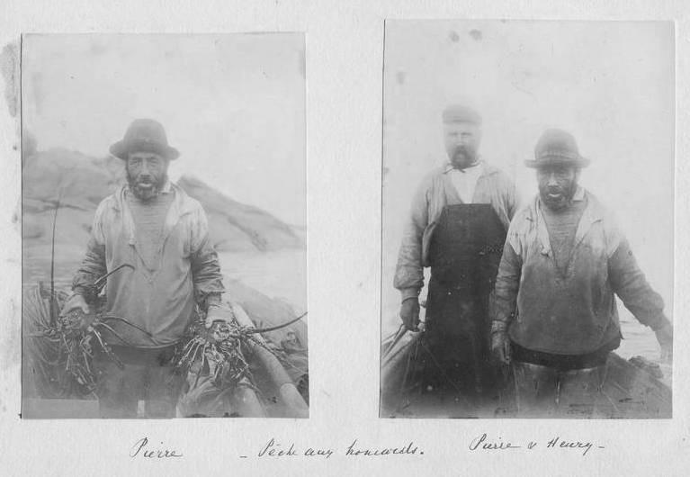 L'équipage du canot de la photo précédente , avec de belles langoustes, un lecteur du site pourra t-il identifier ces deux pêcheurs de Trégastel ?