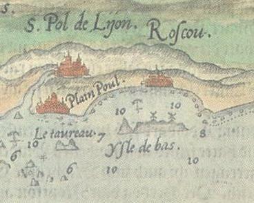 Le document le plus ancien représentant deux moulins sur l'île en 1583,   extrait d'une  la carte marine hollandaise  de  Lucas Jansz Waghenaer