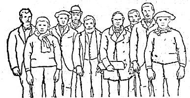 Dessin des Lanionnais  partant pour Tabarca publié dans le « Petit Journal » dessiné d'après une photo, au centre c'est certainement le capitaine au long-cours Conseil