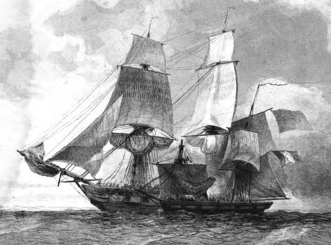 La canonnière 93 arraisonné par le brick Scylla T. Gudin, gravé par T. Ruhierre. 1837