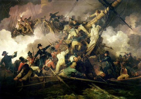 L'abordage de la Chevrette à Brest par des marins anglais (21 juillet 1801, par Philippe Jacques de Loutherbourg [1740-1812], Musées Bristol, ce tableau nous laisse imaginer la violence d'un combat au corps