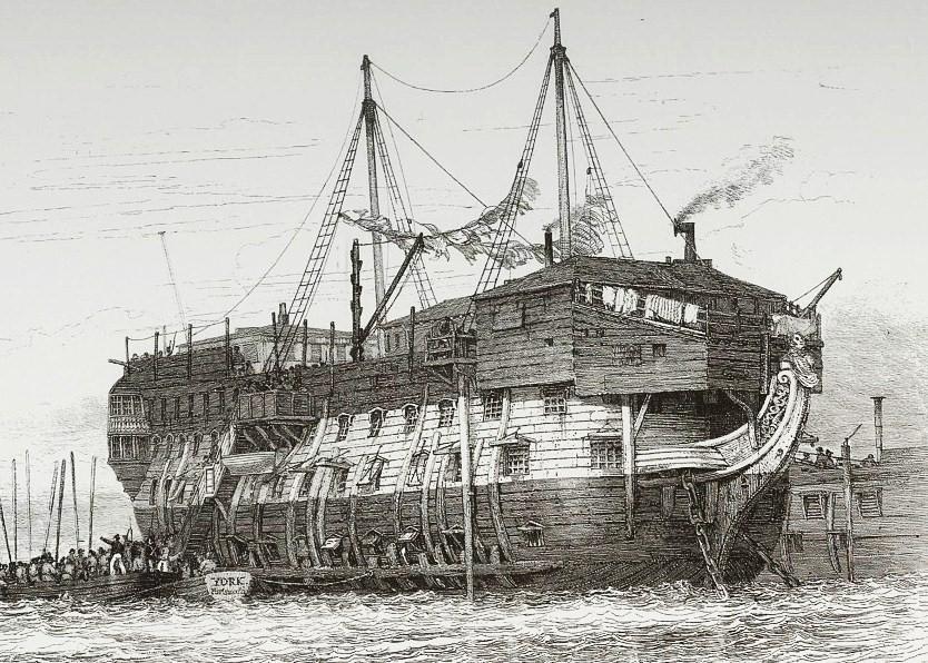 Cette représentation d'un ponton anglais par Howard Cooke inspira François Bourgeon pour sa BD les Passagers du vent (Source Gallica)