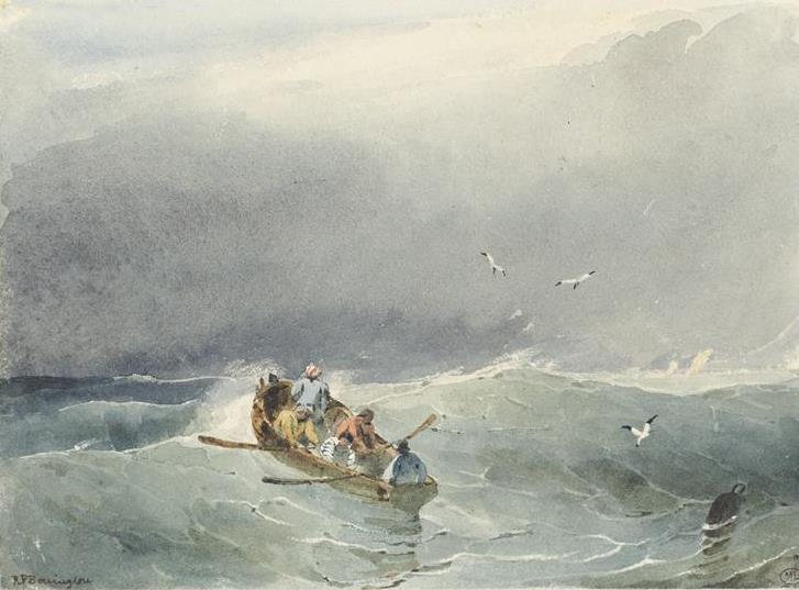 Canot en mer par Richard Parkes Bonington Coll. Du Louvre