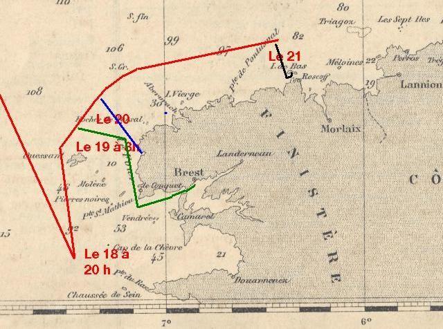 En rouge la route du brick Édouard à partir de Ouessant sa route est certainement plus chaotique en vert celle possible vers Brest par le chenal du Four du vapeur sauveteur Broadmaryne. Bleu la route du canot de sauvetage d'Argenton et en noir celle du ca