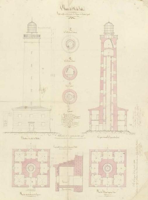 Plan du phare de l'île de Batz, version approuvé le 10 janvier 1834, ce plan aurait été établi sur les consignes d'Augustin Fresnel