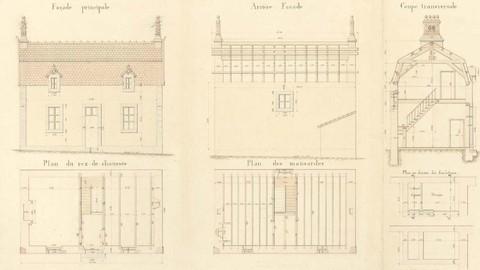 Plan de la maison du gardien 1882 (archives départementales du Finistère)