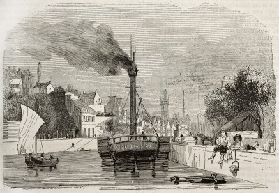 Le port de Morlaix avec le steamer le Morlaisien à quai gravure du Magasin Pittoresque de 1843