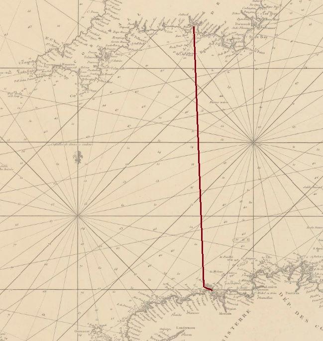 La route de Plymouth à l'île de Batz est simple, cap au sud  du monde (détail carte marine française de la Manche de 1800, source Gallica)