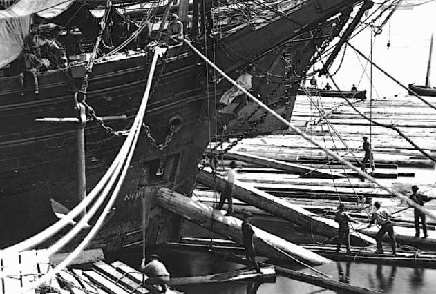 Navires chargeant du bois à Québec en 1872, le chargement de bois du Brunelle l'a maintenu à flot pendant sa dérive (Coll archives du Canada)