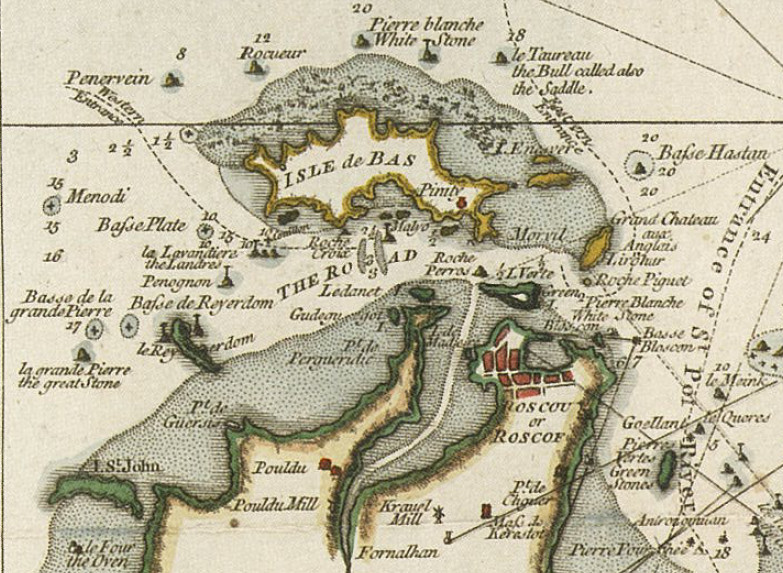 Détail de la carte anglaise de 1767 : « Road of Bas » par  Thomas Jefferys