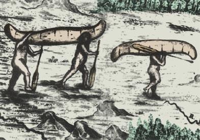 Indiens micmacs portant leur canoë d'écorces