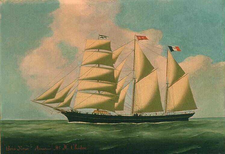 Le trois-mâts goélette terre-neuvier de Fécamp Bois Rosé peint en 1886  par Louis Grandin du Havre collection Musée maritime de Fécamp