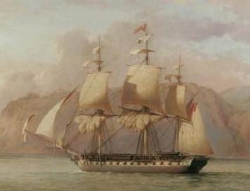 Frégate Anglaise HMS Amélia en 1796, ex frégate Française de 18 la Prospérine proche de la Danaé
