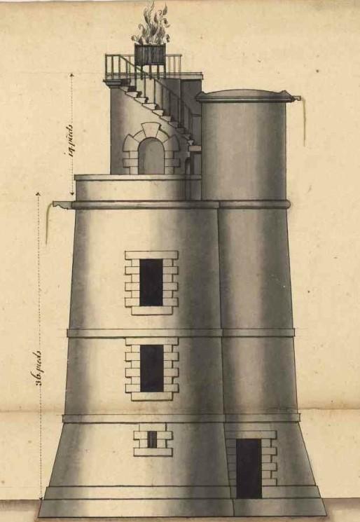 Profil de la tour, 50 pieds de haut (16,33m) , surmonté par un foyer en fer