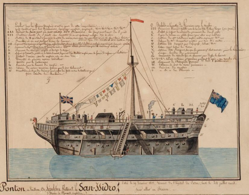 Dessin légendé d'un des sinistres pontons anglais, le  San Issidro à Plymouth réalisé par un prisonnier (source Gallica BNF)