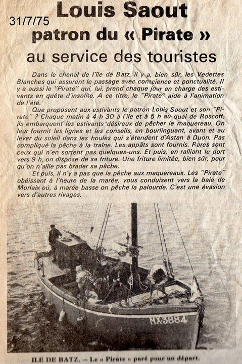 Louis faisait apprécier la voile à bord de bateau traditionnel bien avant la mode des « vieux gréements » Article de Louis Priser  Le Télégramme (Archive Yves Le Saout sur facebook)