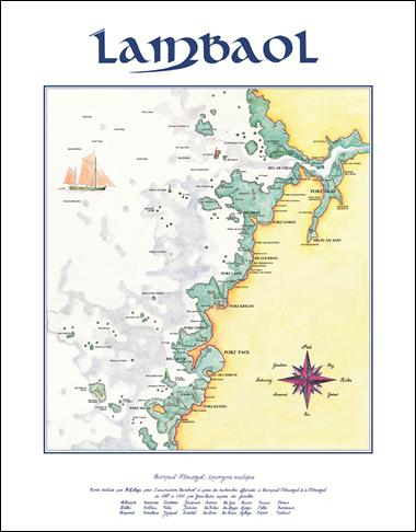 Une carte de la zone étudiée, c'est l'aboutissement des enquêtes de terrain. Elle permet de transmettre une partie de la mémoire orale de la communauté maritime. Carte dessinée par Huguette Mellaza pour l'association Lambaol.