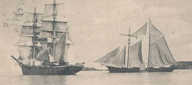 Brick et goélette à hunier au départ de Saint-Malo, jusqu'à 240 passagers pour les armements coloniaux à St Pierre logé sur un plancher sommaire au-dessus du chargement de sel