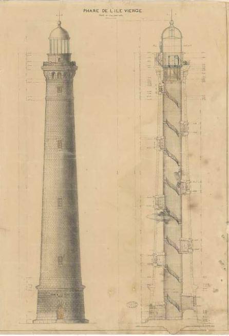 Plan du phare (archives départementales du Finistère)