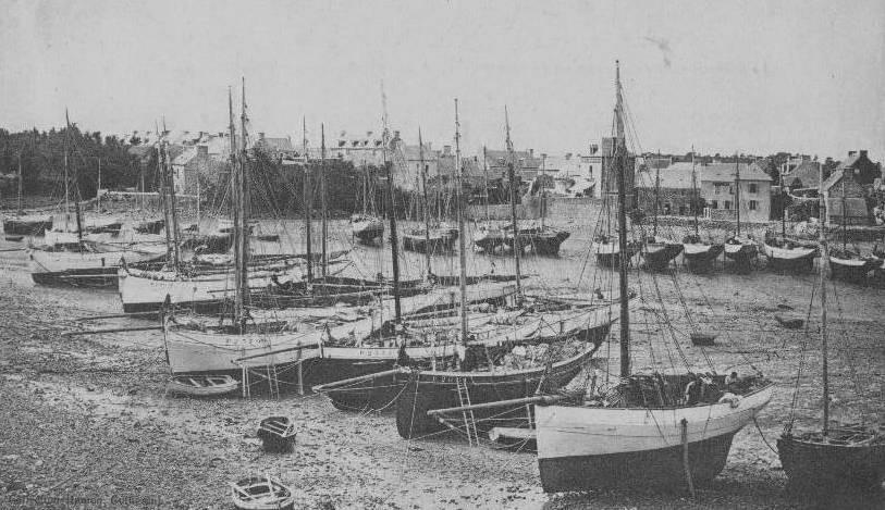 Le port de Loguivy vers 1910, on voit sur cette photo pas moins de 22 sloups homardiers pontés, certain comme celui au premier plan a des formes très pincées avec un brion profond