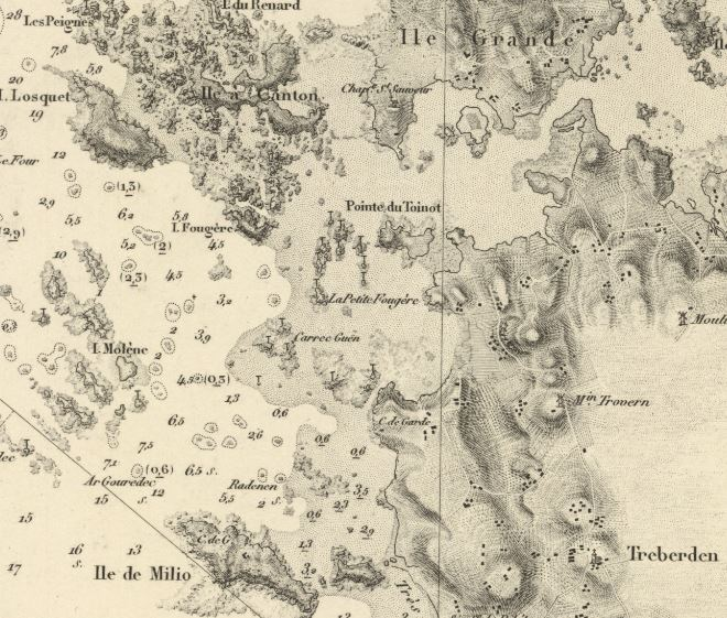 Extrait de la carte 956 du service hydrographique de la Marine carte levée en 1837 avec les corrections de 1866, on y voit l'île Grande, sans son pont, l'île Molène et ile de Milio