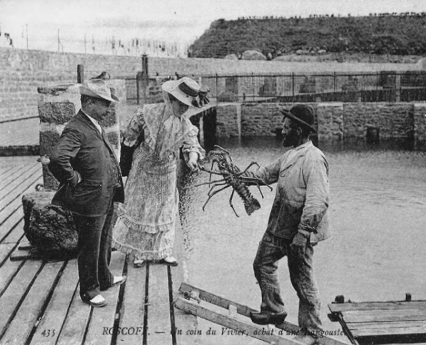 Des bourgeois choisissant une belle langouste aux viviers de Roscoff