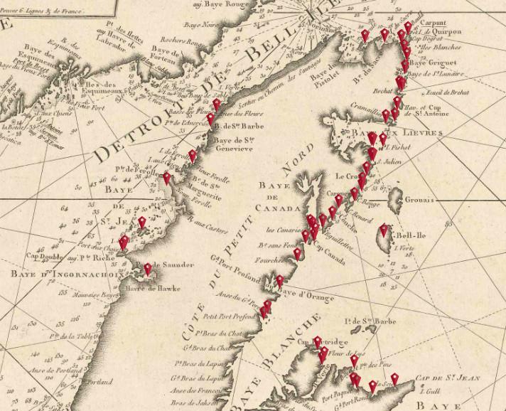 Côte nord de Terre-Neuve appelé Petit Nord :  64 havres de pêche ou l'on trouve 220 établissements en 1832en 1873 ils sont plus nombreux encore
