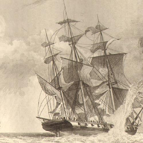 Corvette assaillie par une trombe marine (Détail d'une gravure de Garneray vers 1838)