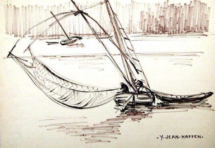 Bateau carrelet en pêche, le pêcheur après avoir remonté l'ensemble des apparaux au treuil, ramène le filet vers lui avec ses prises  on peut remarquer les enfléchures de haubans (dessin de Yvonne Jean Haffen)