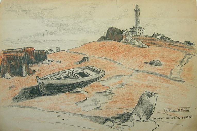 Dans l'ouest de l'île, petit canot goémonier, posé sur la dune, calé sur des cailloux dessiné par Yvonne Jean Haffen