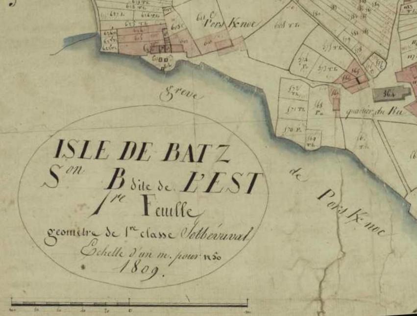 Extrait du cadastre de 1809 (archives départementales du Finistère)
