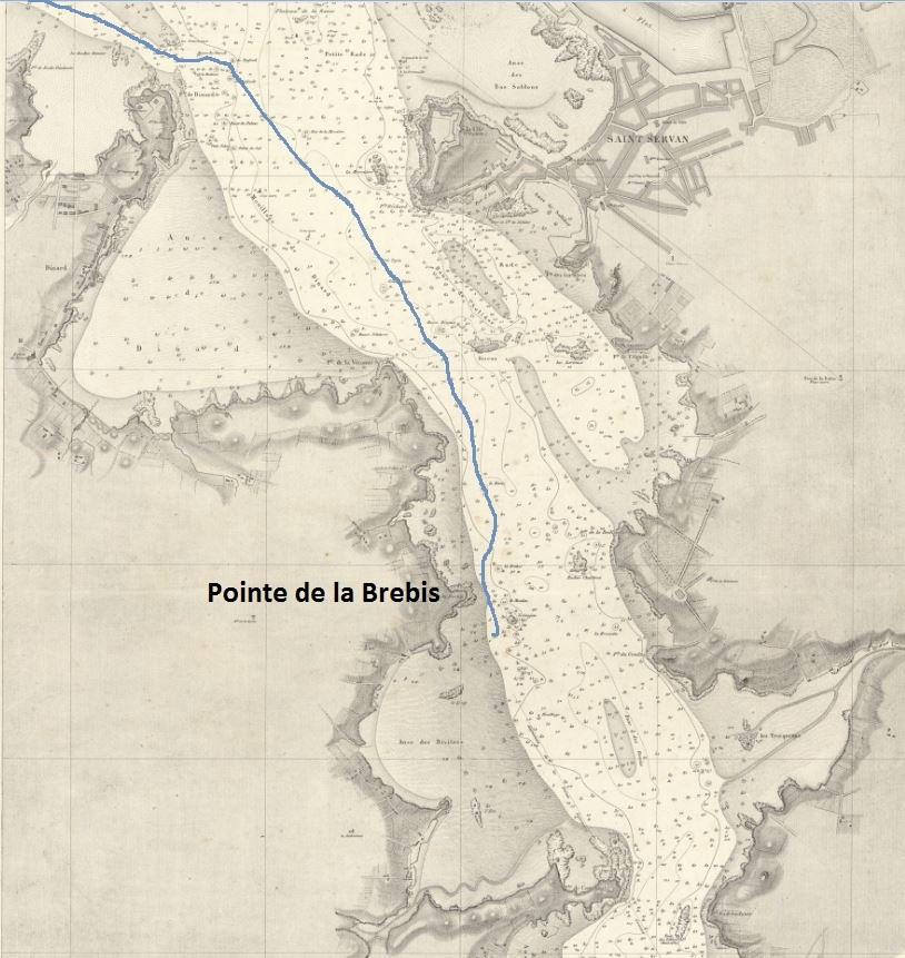 Extrait de la carte : « plan de la Rance de St Servan à la pointe de la Landraie » de 1870 Trajet supposé du chaland ivre. La pointe de la Brebis est l'emplacement  de le l'extrémité ouest du barrage de l'usine marémotrice de la Rance
