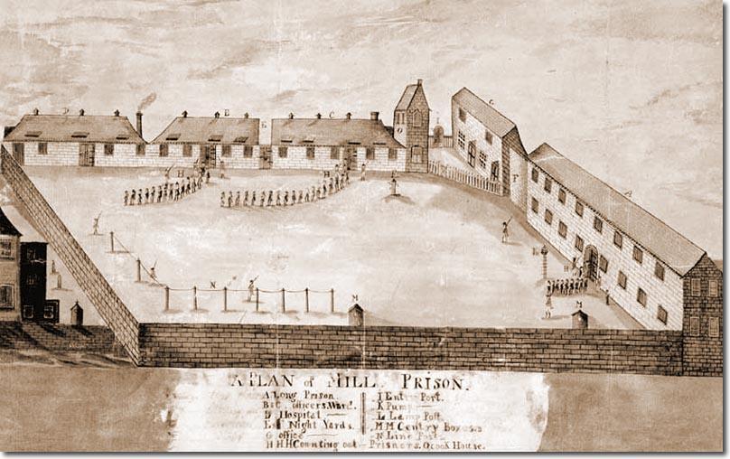 Mill Prison à Plymouth, cette prison destinée aux prisonniers de guerre se situait à proximité de l'actuel terminal de ferries de Plymouth à Mill Bay (Coll privé)