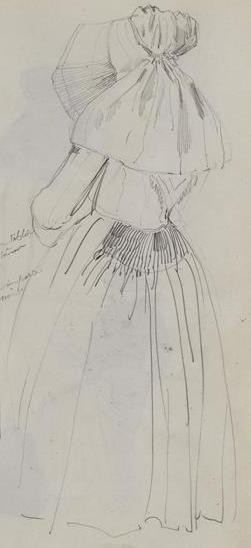 Représentation du costume de l'île de Batz par Hyppolite Lalaisse en 1843