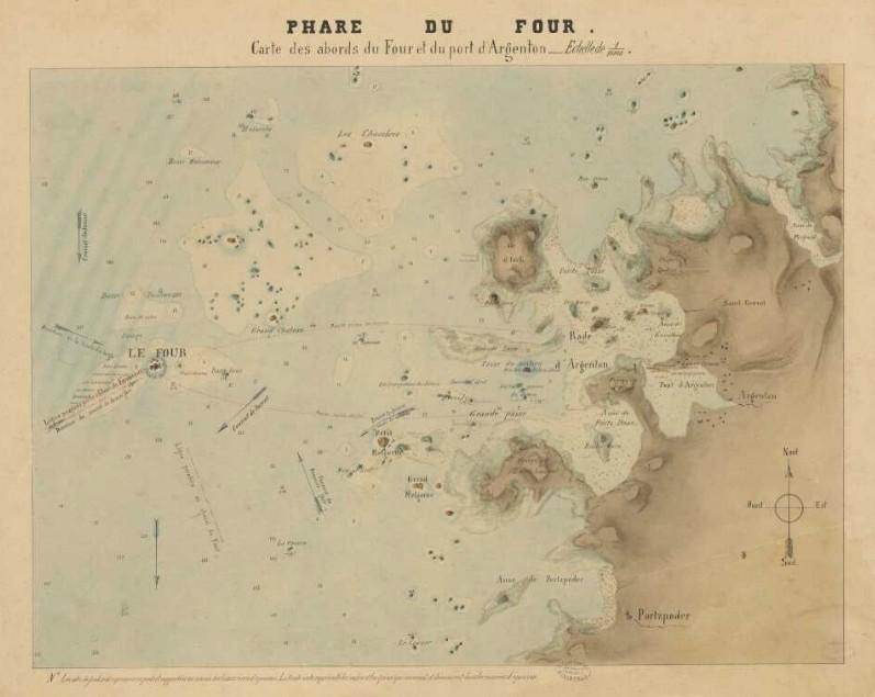 Carte de détails des approches du phare établie en prévisions des travaux (Archives départementales 29)
