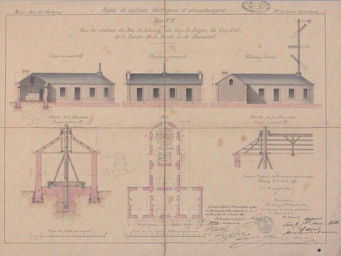 Plan type d'un poste électro-sémaphorique, en forme de T avec logement pour deux gardiens, on peut trouver des petites variantes locales