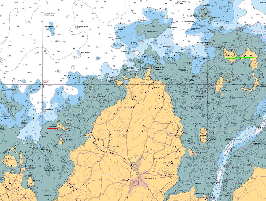 Extrait de carte marine  7126 du SHOM soulignée en rouge l'île Yvinec et soulignée en vert l'île d'Er