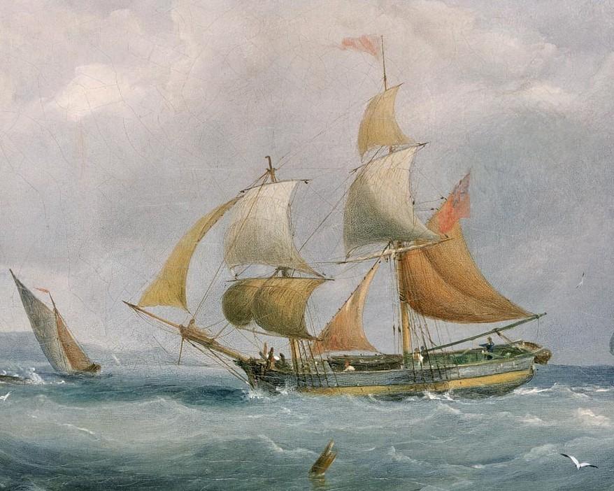 Brick marchand courant vent arrière, ce type de navire fréquentait la rade de l'île de Batz   peinture à huile de Joseph Walter 1838 (National Maritime Museum)