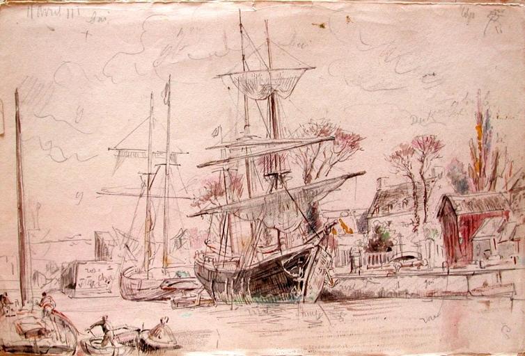 Paimpol par Faudacq , le trois-mâts goélette représenté est nettement plus petit que le Franz Covacevich (Archives départementales des côtes d'Armor)