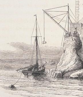 Détail d'une gravure illustrant le déchargement de pierres de taille pour la construction du phare des Triagoz, la mise ne œuvre pour le phare du four est la même