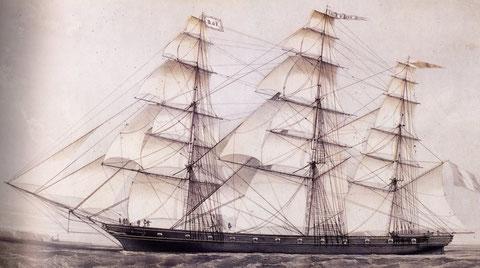Le grand trois-mâts carré français  en bois « Ville d'Agen » de 1200 tonneaux 60m lancé en 1857, le Brunelle était certainement un fier navire de taille semblable