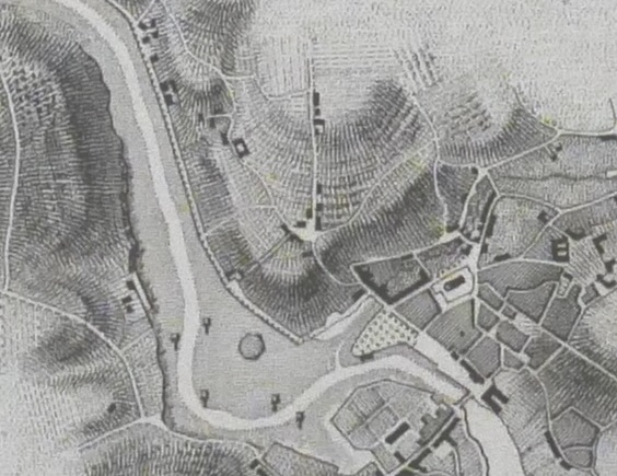 Détail de la carte du pilote Français de 1843 (carte dite de Beautemps Beaupré) les vasières entourent vraiment la ville et le chenal est à redresser (Coll. perso.)