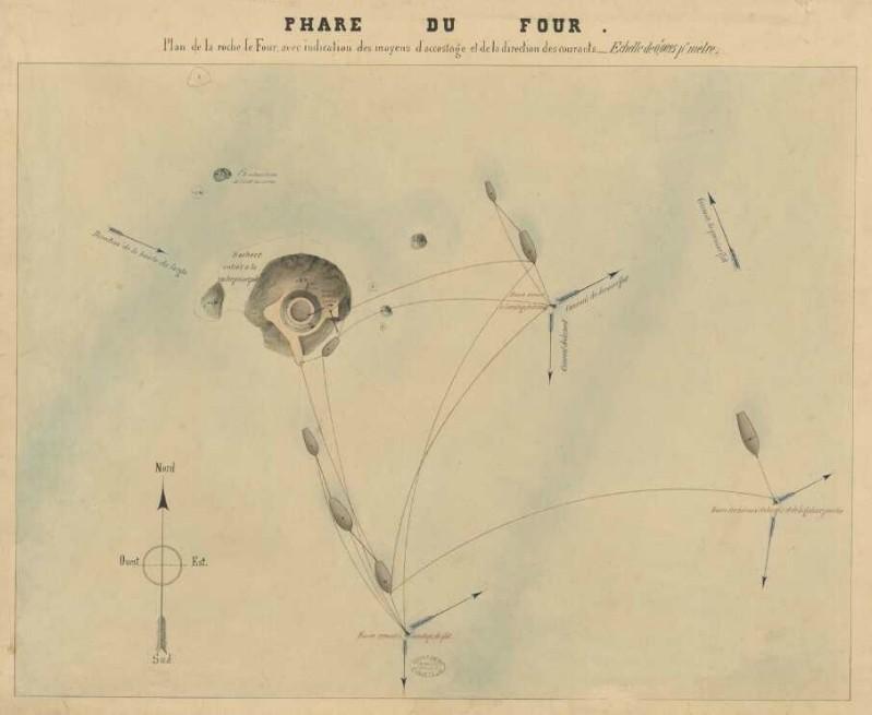 Plan de la roche du Four avec indication des moyens d'accostage et de la direction des courants (archives départementales 29)