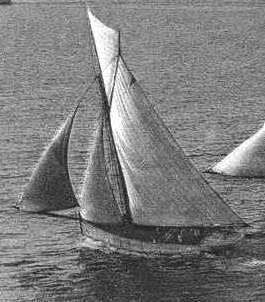 Le Reder Mor, M1226, le troisième du nom, à Louis Guyader construit en 1907 à Carantec au chantier Pauvy, photographié lors de sa victoire sur  les bisquines aux régates de St Malo le 27 aout 1909.
