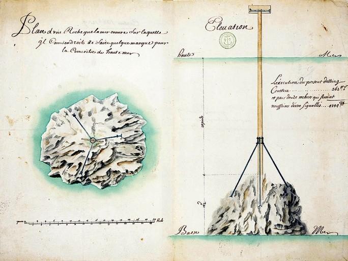 Projet de balise sur une roche du Trieux  vers 1760 (AN Marine)
