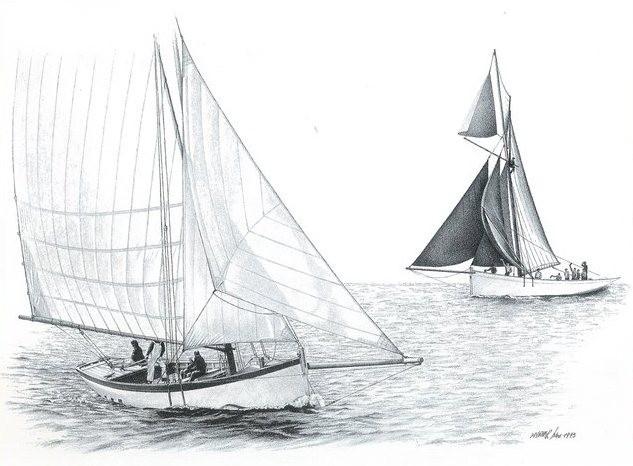 C'est dans cette tempête que disparu le cordier de Roscoff  Reder Mor troisième du nom La réplique du Reder Mor navigue aujourd'hui à la mémoire des sloops cordiers dessin de Marek